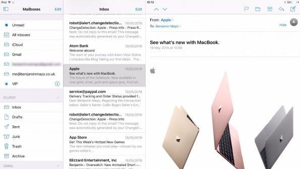 Auf dem größten iPad Pro bringt iOS 10 eine mehrspaltige Ansicht. (Bild: 9to5Mac)