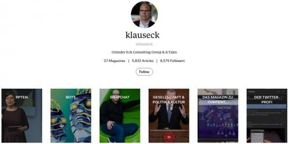 Unser Kolumnist Klaus Eck kuratiert viele Inhalte in verschiedenen Magazinen auf Flipboard. (Screenshot: Flipboard)