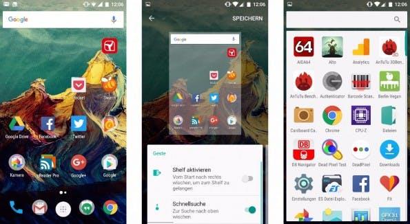 """Homescreen und App-Drawer des Oneplus 3 – mit einem Langdruck auf das Display könnt ihr den """"Shelf"""" aktivieren. (Bild: t3n)"""