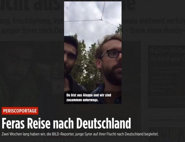 Periscope-Reportage: Bild-Reporter Paul Ronzheimer begleitet Syrer auf der Flucht nach Deutschland. (Screenshot: t3n.de)