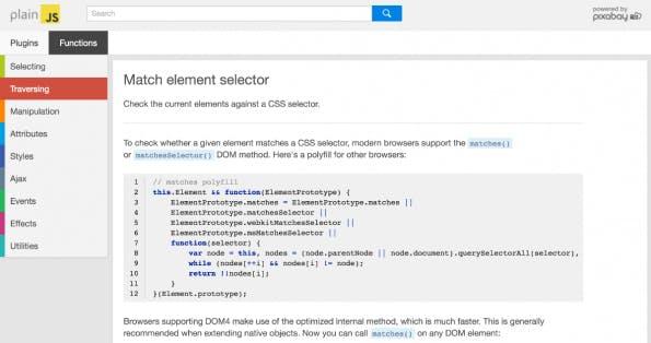 PlainJS: JavaScript-Funktionen (Screenshot: t3n)