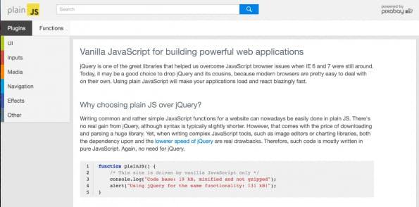 PlainJS: Startseite (Screenshot: t3n)