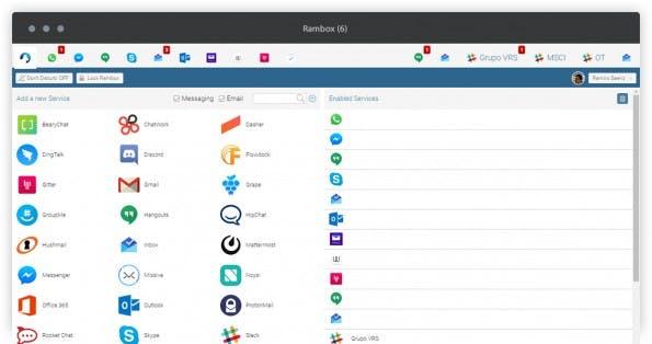 Von Slack bis Whatsapp: Auch optisch erinnert Rambox stark an Franz. (Screenshot: Rambox)