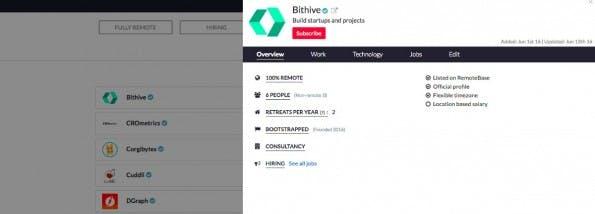 Remotebase dient als offene Datenbank für verteilt arbeitende Startups. (Screenshot: remotebase.io)