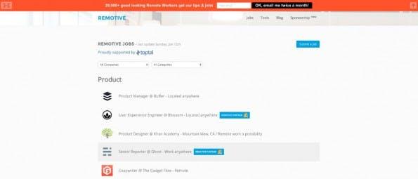 Remotive Job informiert euch auf Wunsch auch per E-Mail über neue Jobangebote. (Screenshot: job.remotive.io)