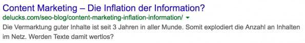 Ein Beispiel für eine ansprechende Vorschau (Snippet) in den Suchergebnissen von Google. (Screenshot: Google)