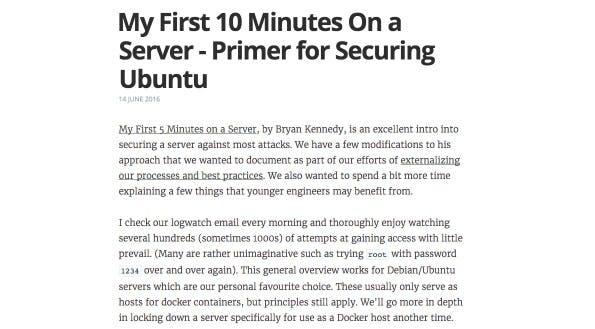 Ubuntu-Server: In nur zehn Minuten die wichtigsten Sicherheitseinstellungen vornehmen. (Screenshot: codelitt.com)