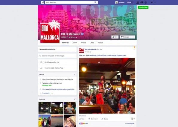"""Facebook-Fanpages wie """"BILD Mallorca"""" richten sich konkret an spezielle Communities. (Screenshot: t3n.de)"""