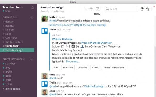 Endlich vereint: Slack-App ermöglicht die Bearbeitung von Trello-Projekten direkt im Messenger. (Screenshot: Trello)