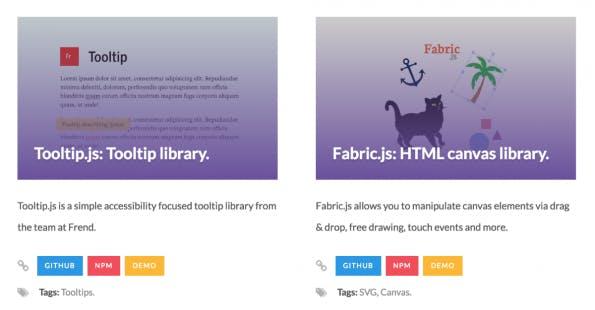 The Vanilla JavaScript Repository: übersichtlich, aber informationsarm (Screenshot: t3n)