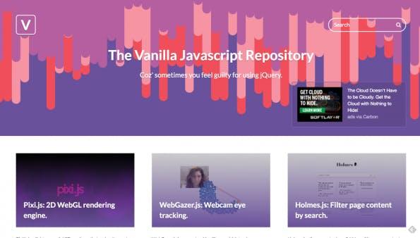 The Vanilla JavaScript Repository: Startseite (Screenshot: t3n)
