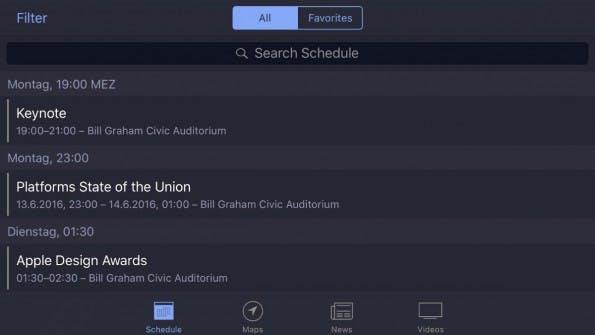 Vorbote auf ein dunkles iOS-10-Theme? Die WWDC-2016-App wie die WWDC-Website sind auch dunkel gehalten. (Screenshot: t3n)