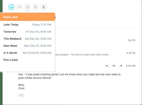 Polymail unterstützt zeitversetztes Senden von E-Mails. (Quelle: Polymail)