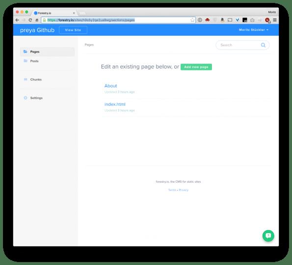 Forestry.io bietet alle Funktionen eines normalen CMS a la WordPress. (Screenshot: forestry.io)