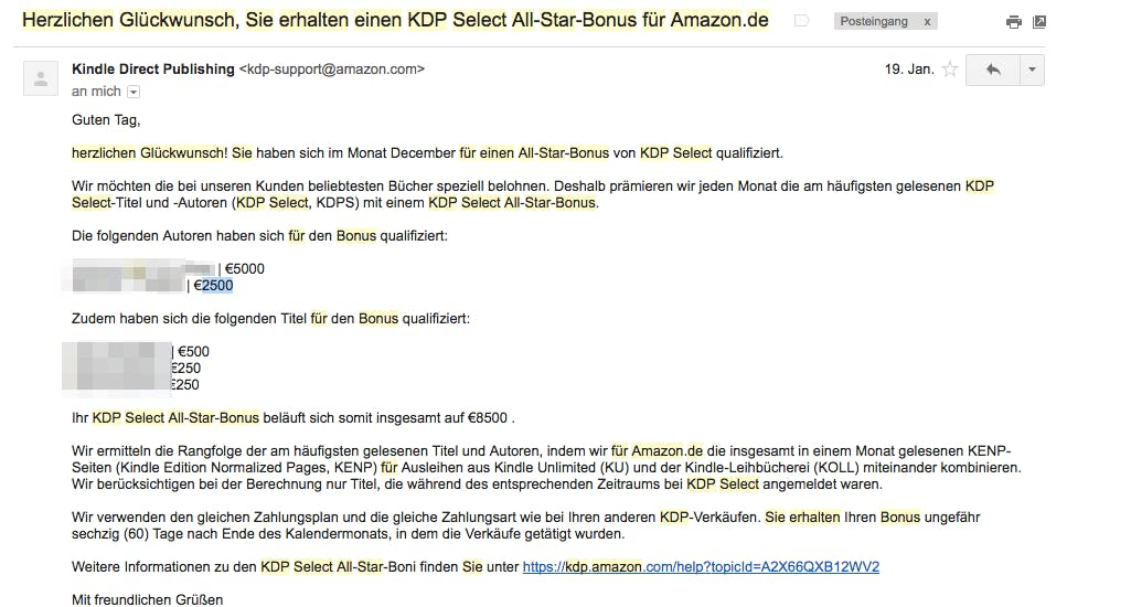 Sam Feuerstein bekommt den Amazon All-Star-Bonus.
