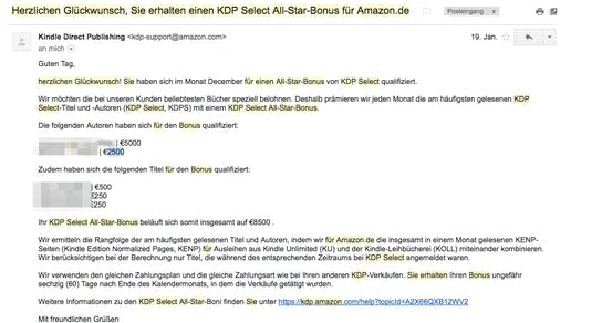 Sam Feuerstein bekommt den Amazon All-Star-Bonus.