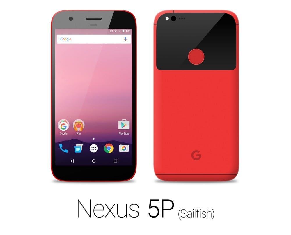 Mockup: So könnte das Google Pixel/Nexus in Rot aussehen. (Bild: reddit)