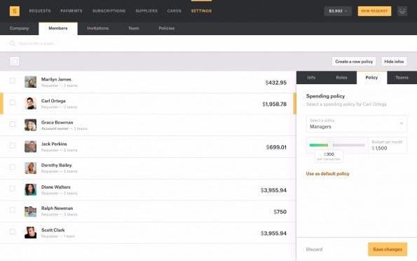 Das Fintech-Startup Spendesk will die Ausgabe und Verwaltung von Firmenkreditkarten deutlich vereinfachen. (Screenshot: Spendesk)