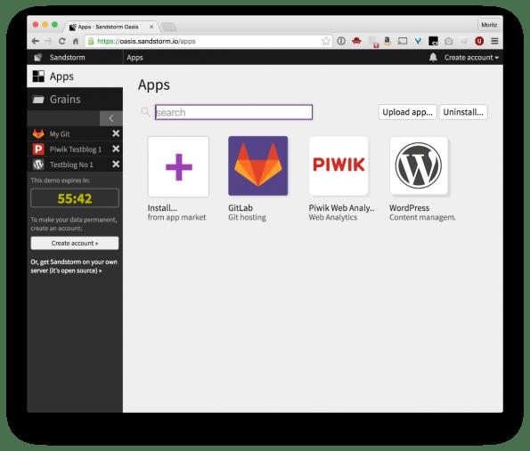 Drei parallel laufende Instanzen von GitLab, Piwik und WordPress in Sandstorm. (Screenshot: t3n)