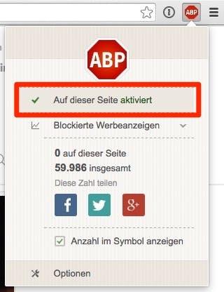 Mit einem Klick auf diese Schaltfläche kannst du Adblock Plus für t3n.de deaktivieren. (Screenshot: Google Chrome)
