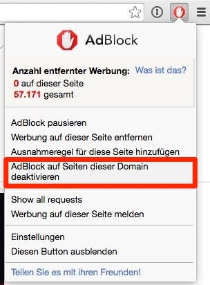 Mit einem Klick auf diese Schaltfläche kannst du Adblock für t3n.de deaktivieren. (Screenshot: Google Chrome)