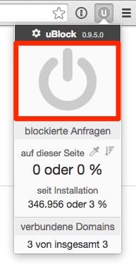 Mit einem Klick auf diese Schaltfläche kannst du uBlock für t3n.de deaktivieren. (Screenshot: Google Chrome)