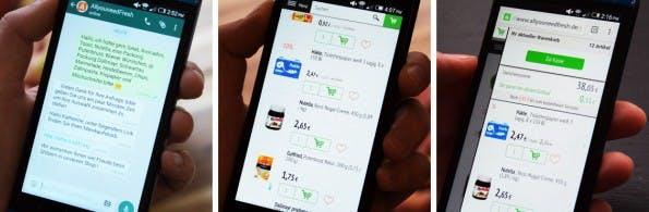 Allyouneedfresh: Der Online-Supermarkt nimmt Bestellungen jetzt auch per Whatsapp entgegen. (Grafik: Allyouneedfresh)