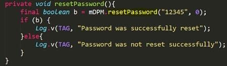 Die Schadsoftware Android.Lockdroid.E setzt oder ersetzt das Lockscreen-Passwort - unter Android 7.0 ist das ohne Weiteres nicht mehr möglich. (Bild: Symantec)