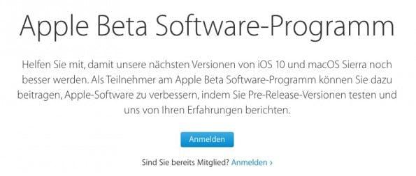 Damit ihr an Apples Public-Beta-Programm teilnehmen könnt, müsst ihr euch registrieren. (Screenshot: Apple)