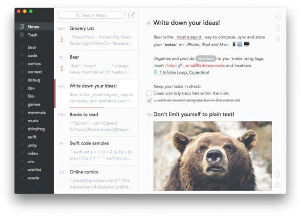 Notiz-Apps: Bear eignet sich auch für längere Texte. (Screenshot: Bear)