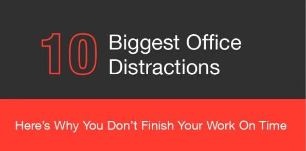 Infografik: Die zehn größten Quellen für Ablenkungen im Büro. (Grafik: Weekdone)