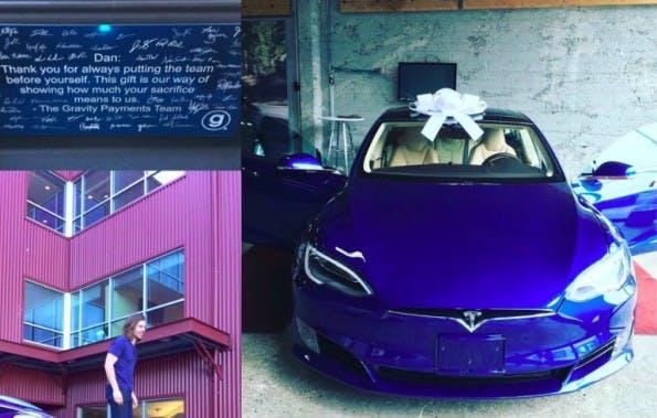Mitarbeiter beschenken Chef: Über diesen blauen Tesla konnte sich Dan Price freuen. (Bild: Gravity Payments/Facebook)