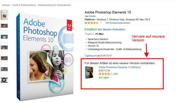 Verweis auf eine neuere Produktversion bei amazon.de. (Screenshot: amazon.de)