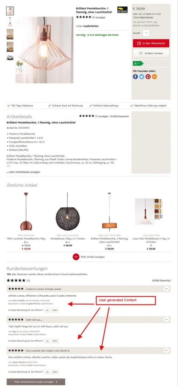 User generated Content auf einer Produktseite von otto.de. (Screenshot: otto.de)