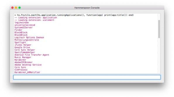 Hammerspoon erlaubt die Automatisierung eures Mac mithilfe von Lua-Skripten. (Screenshot: Hammerspoon)