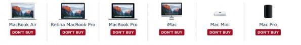 """Zurzeit gilt fast für alle Mac-Modelle: """"Wartet besser mit dem Kauf."""" (Screenshot: Macrumors)"""
