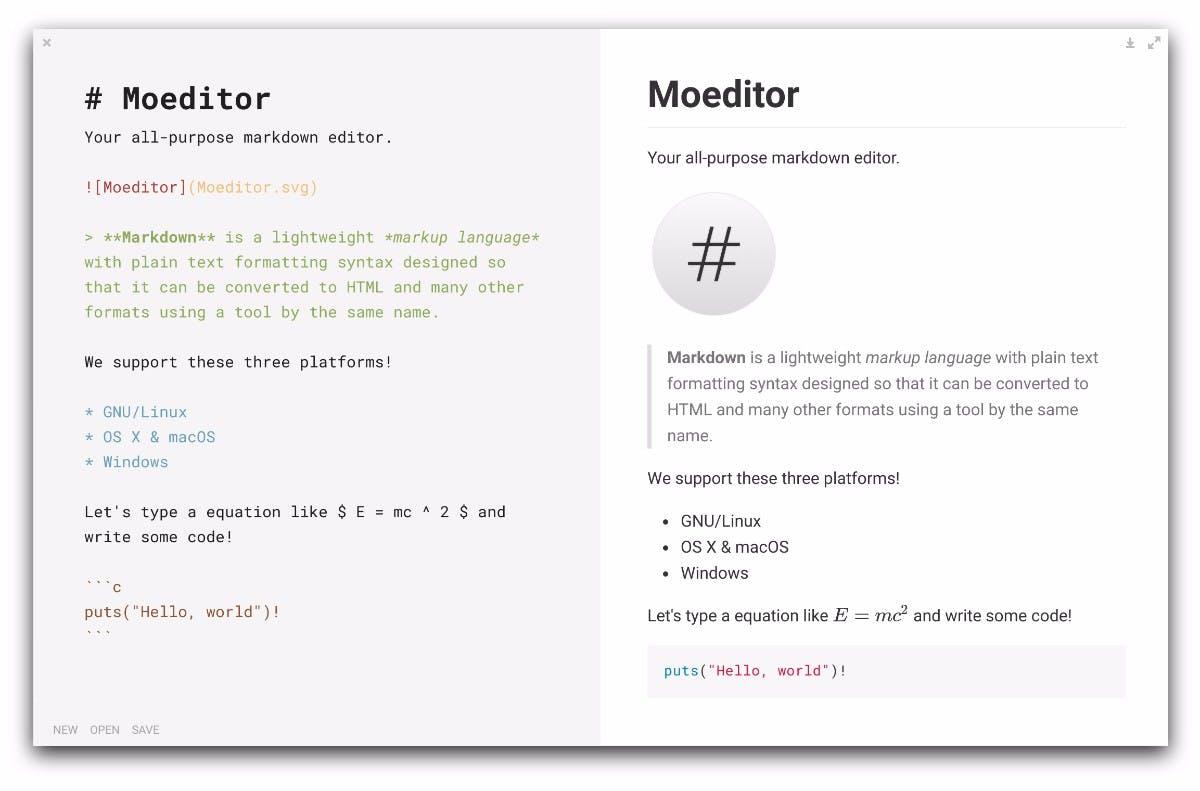 Moeditor: Der quelloffene Markdown-Editor basiert auf dem Electron-Framework. (Screenshot: Moeditor)