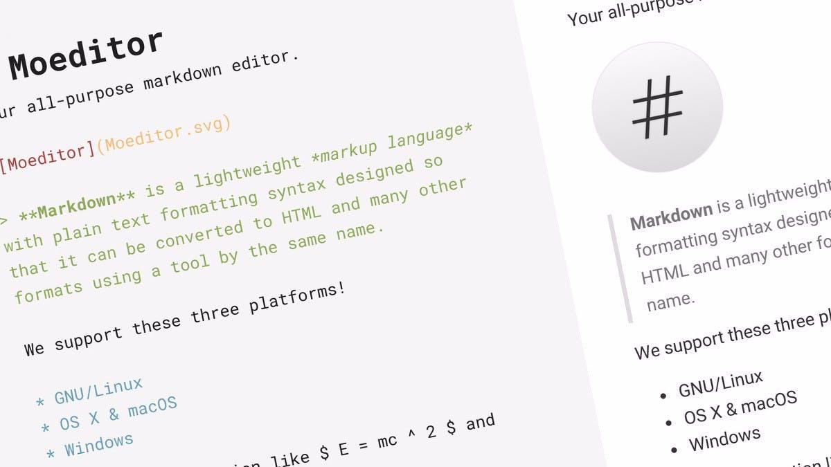 Quelloffener Markdown-Editor auf Electron-Basis: Das kann Moeditor