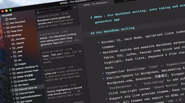 Mächtiger Markdown-Editor für Nutzer von Wordpress, Medium & Co.: Das kann Mweb 2.0