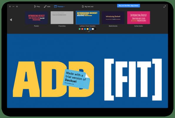 Deckset bietet vor allem sehr hübsche Themes, ist aber nur ein Player für Präsentationen. Erstellen und Bearbeiten der Slides erfolgt in einem beliebigen externen Editor. (Screenshot: t3n)