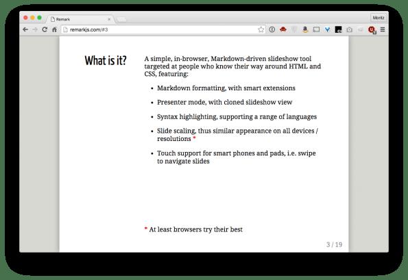 Mit Remark.js kann eine Markdown-Präsentation innerhalb einer HTML-Datei erstellt und mittels CSS gestyled werden: Viele Möglichkeiten, aber eine hohe Einstiegshürde. (Screenshot: t3n)