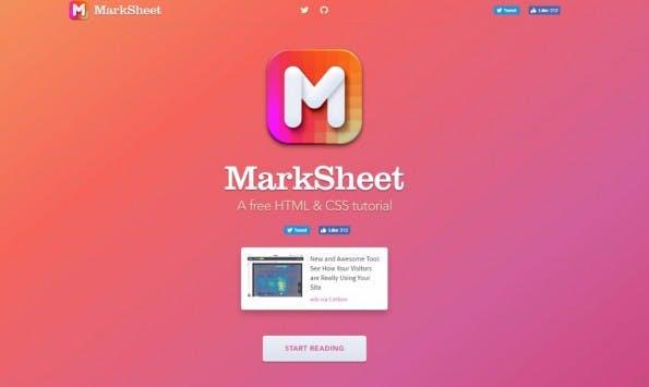 Marksheet: Schon die Landing Page zeigt, dass es ein Designer-Projekt ist. (Screenshot: t3n)
