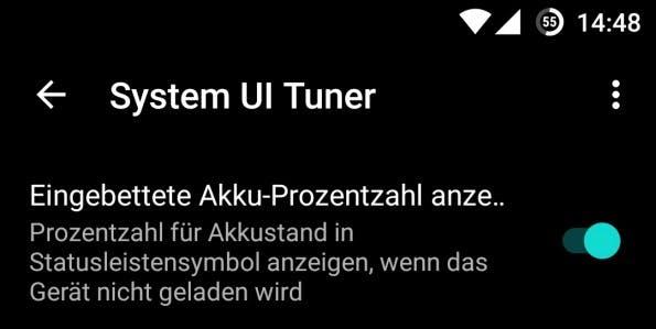 Mit dem System-UI-Tuner könnt ihr euch in der runden Akkuanzeige auch den Ladestand in Prozent anzeigen lassen. (Bild: t3n)