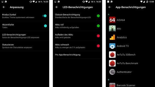 Mit OxygenOS 3 könnt ihr das LED-Licht selbst ein wenig kontrollieren. (Bild: t3n)