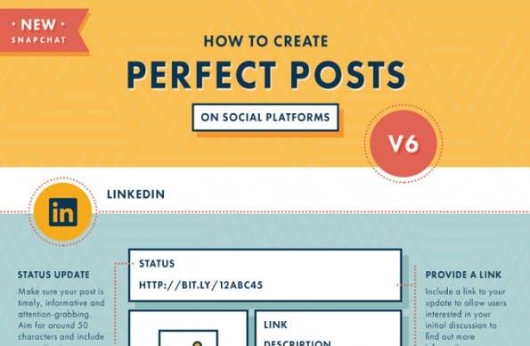Infografik: So sehen die perfekten Beiträge auf Facebook, Snapchat & Co. aus. (Grafik: Myclever)