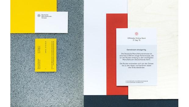 """Große Farbflächen auf der Geschäftsausstattung für die deutsche Manufakturenstraße  (Foto: <a href=""""http://hardyseiler.de/"""">hardyseiler.de</a>)"""