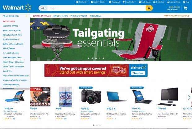 Walmart.com ist ebenso wie Amazon ein Vollsortimenter – abe rnoch weit von Amazons Sortiment entfernt.(Screenshot:Walmart)
