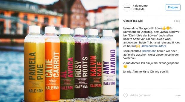 """Über Facebook und Instagram hat sich Kale and me eine kleine Gefolgschaft aufgebaut. Am Dienstag ist das Startup in der Fernsehsendung """"Die Höhle der Löwen"""" zu sehen. (Screenshot: Instagram/Kale and me)"""