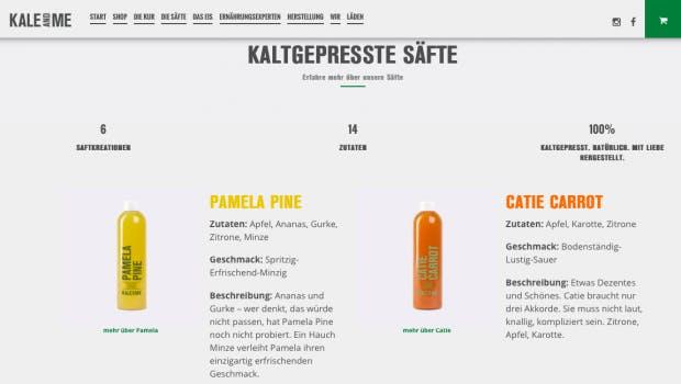 Auf der Seite von Kale and me finden sich die Zutaten der unterschiedlichen Säfte. (Screenshot: Kale and me)