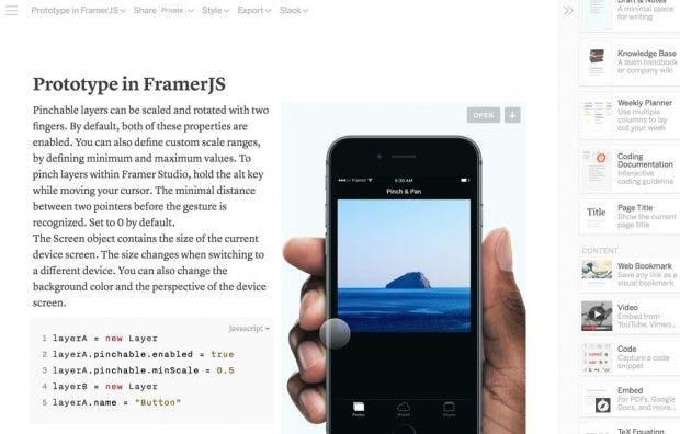 Die Seitenleiste beinhaltet alle verfügbaren Inhaltstypen und kann um eigene Templates erweitert werden. (Quelle: Notion)